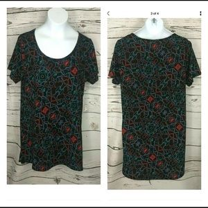 NWT LULAROE XS CLASSIC T BLACK BLUE RED GREEN